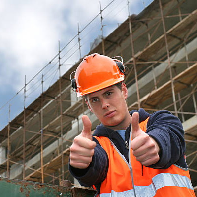 Construction worker signaling that everything is OK.